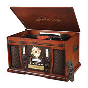 Victrola VTA-750B Aviator Wooden 7-in-1 Nostalgic Record Player with Bluetooth and Digital CD Encoding