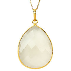 Womens White Quartz Gold Over Silver Pendant Necklace