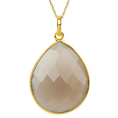 Womens Gray Quartz Gold Over Silver Pendant Necklace