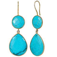 Blue Quartz 14K Gold Over Silver Drop Earrings