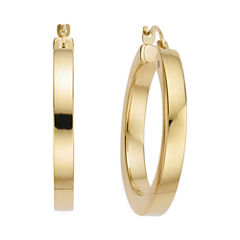Gold Opulence 14K Gold Over Diamond Resin PolishedSquared Hoop Earrings