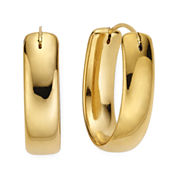 Gold Opulence 14K Gold Over Diamond Resin Oval Polished HoopEarrings