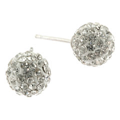Silver Treasures White Crystal Stud Earrings
