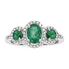 1/6 CT. T.W. Diamond & Genuine Emerald 10K White Gold 3-Stone Ring