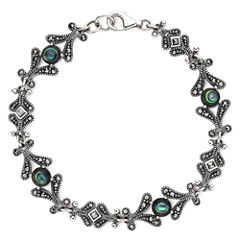 Marcasite and Abalone Shell Sterling Silver Bracelet