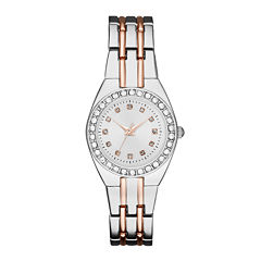Womens Crystal-Accent Silver-Tone Dial Two-Tone Bracelet Watch