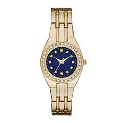 Womens Crystal-Accent Blue Dial Gold-Tone Bracelet Watch