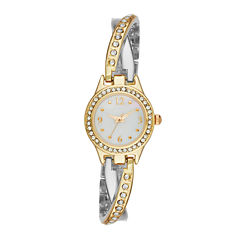 Geneva Womens Crystal-Accent Two-Tone Twist Bracelet Watch