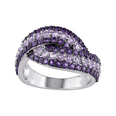 Genuine Amethyst and Rose de France Sterling Silver Ring