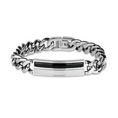 Mens 9 Inch Black Onyx Stainless Steel Link Bracelet