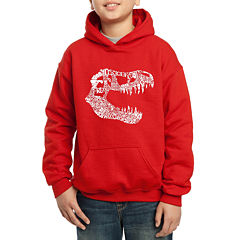Los Angeles Pop Art Trex Skull Using Popular Dinosaur Names Hoodie-Big Kid Boys