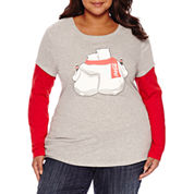 Long Sleeve Scoop Neck T-Shirt-Juniors Plus