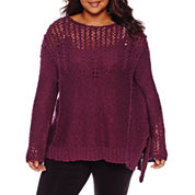 Arizona Long Sleeve Round Neck Pullover Sweater-Juniors Plus