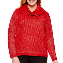 Worthington® Long-Sleeve Oversized Cowlneck Sweater - Plus