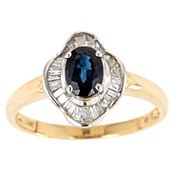Womens 1/4 CT. T.W. Blue Sapphire 14K Gold Cocktail Ring