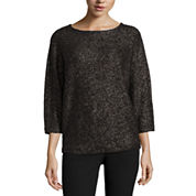 Worthington 3/4 Sleeve Scoop Neck Pullover Sweater
