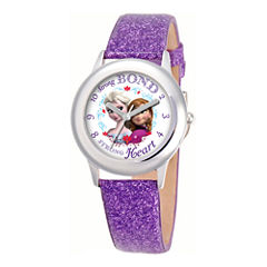 Disney Frozen Anna & Elsa Purple Glitter Strap Watch