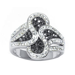 Gray and White Crystal Silver-Plated Brass Wave Ring