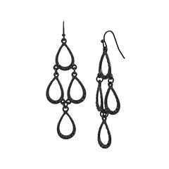 Mixit™ Black Openwork Teardrop Kite Earrings
