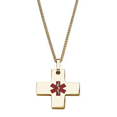 Personalized Medical ID Cross Pendant Necklace