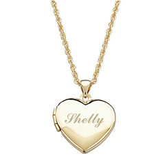 Personalized Girls Heart Locket Pendant Necklace