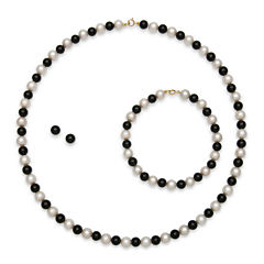 Cultured Freshwater Pearl & Dyed Onyx 3-pc. 14K Yellow Gold Jewelry Set