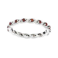 Personally Stackable Genuine Garnet Twisted Eternity Ring