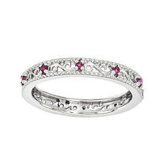 Personally Stackable Lab-Created Ruby Filigree Eternity Ring