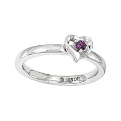 Personally Stackable Genuine Rhodolite Garnet Sterling Silver Heart Ring