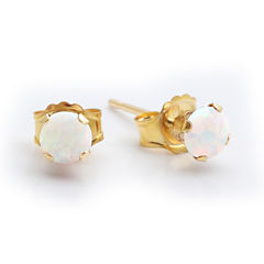 Lab-Created 4mm Opal 10K Yellow Gold Stud Earrings