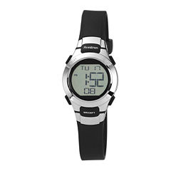 Armitron® Pro-Sport Womens Black Resin Strap Chronograph Sport Watch 45/7012BLKJ