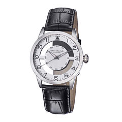 Stuhrling® Original Mens Leather Strap Semi-Transparent Dial Watch