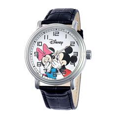 Disney Mickey & Minnie Mens Black Strap Vintage Watch