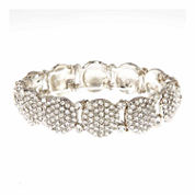 Natasha Accessories Womens White Crystal Stretch Bracelet