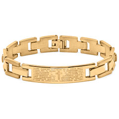 Mens 18K Gold Plated Stainless Steel Spanish Lord's Prayer Link Bracelet