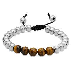 Mens Multi Color Tiger'S Eye Stainless Steel Beaded Bracelet