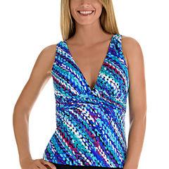 Trimshaper Pattern Tankini Swimsuit Top