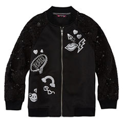 TEMPTED GIRLS LACE SLEEVE BLACK ZIP UP JACKET
