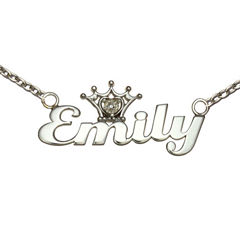 Disney Personalized Girls Diamond-Accent Tiara Sterling Silver Name Necklace