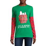 Long Sleeve Crew Neck Peanuts T-Shirt-Juniors