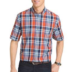 IZOD Short-Sleeve Saltwater Plaid Button-Front Shirt