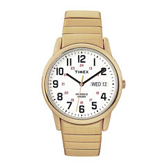 Timex® Easy Reader Mens Gold-Tone Stainless Steel Expansion Strap Watch T204719J