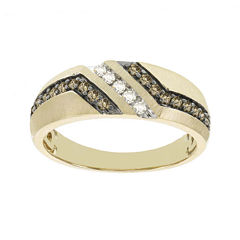 Mens 1/3 CT. T.W. White and Champagne Diamond 10K Yellow Gold Band
