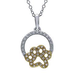 ASPCA® Tender Voices™ 1/6 CT. T.W. Diamond Paw Pendant Necklace