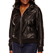 YMI Faux-Leather Faux-Fur-Lined Jacket - Plus