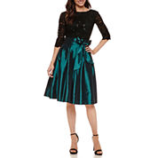 Signature By Sangria Lace 3/4 Sleeve Fit & Flare Dress