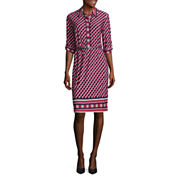 Liz Claiborne Elbow Sleeve Shirt Dress
