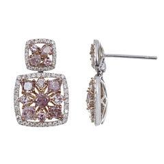 2 1/3 CT. T.W. Pink Diamond 18K Gold Drop Earrings