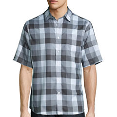 Claiborne Short Sleeve Black White Woven Button-Front Shirt