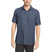 Van Heusen Short Sleeve Textured Grid Camp Button-Front Shirt